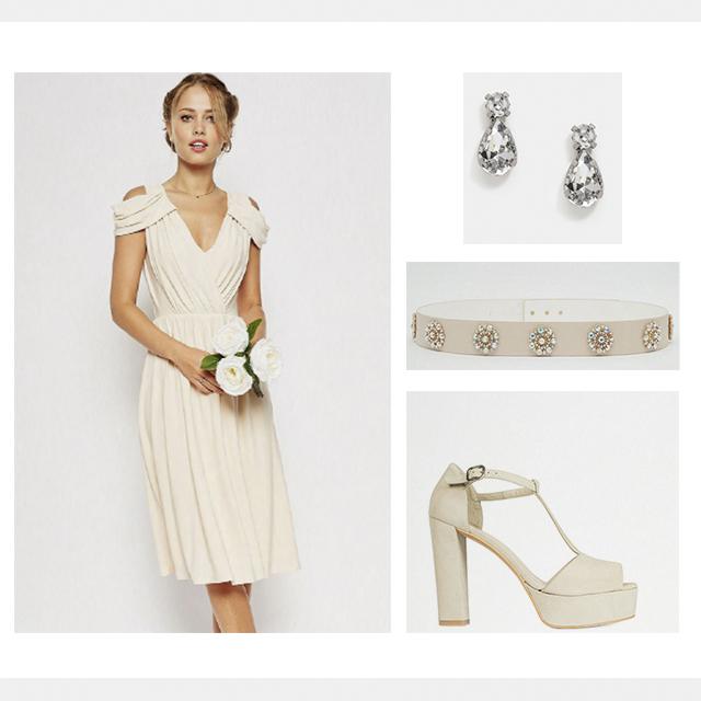 Total look de Asos con Sandalia Plataforma de novia en T de Un Paso Más. Precio total: 161,97€