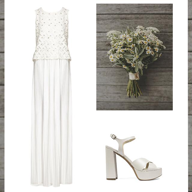 Vestido de Hoss Intropia y Sandalia tacón de novia Perla de Un Paso Más. Precio total: 460€