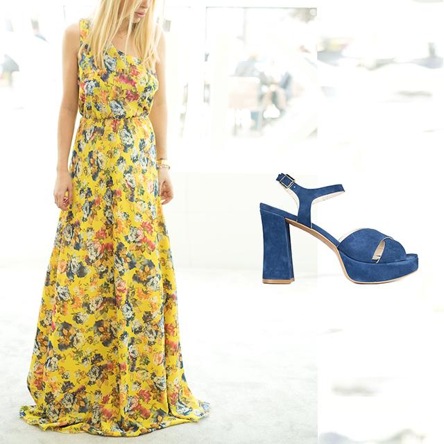 Vestido de Poète con Sandalia Tacón Ante Klein