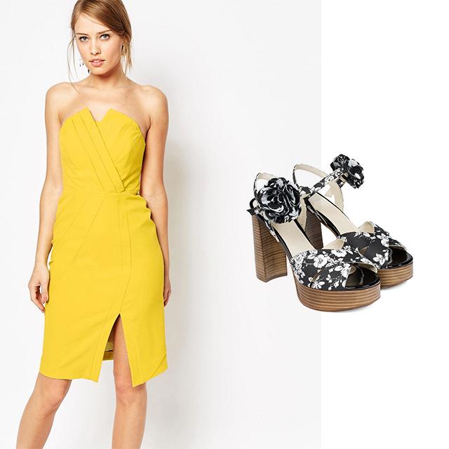 Vestido de Asos con Zapato Tacon Madera Iris