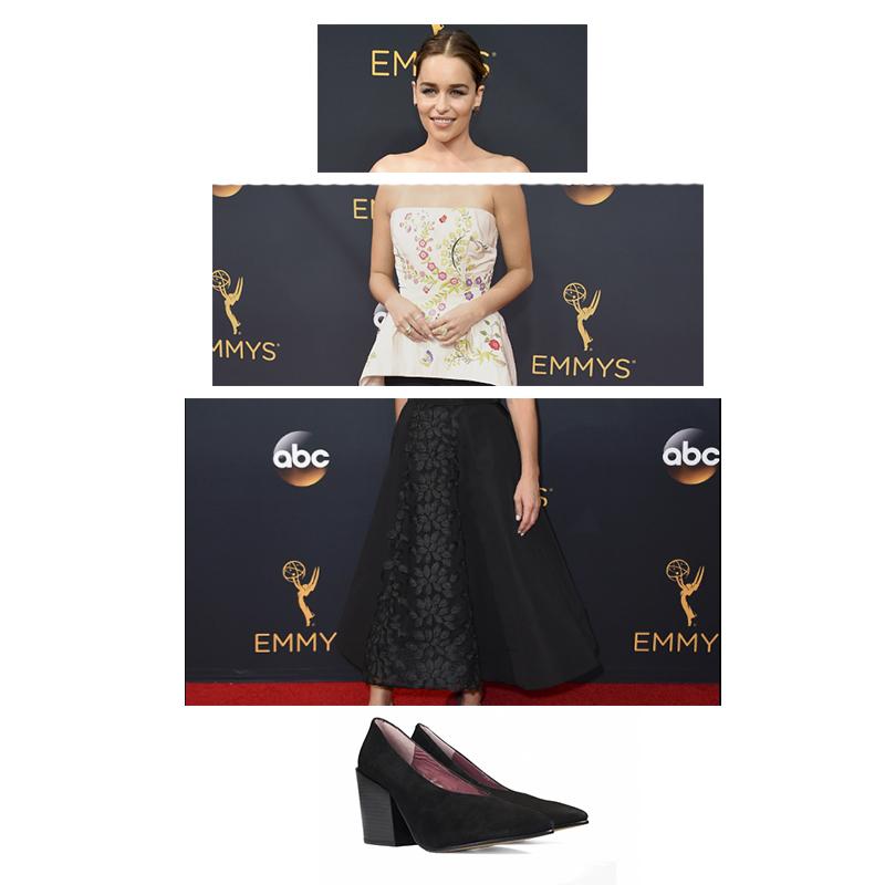 Pelo y maquillaje de Emilia Clarke Palabra de honor de Sarah Hyland Falda midi de Maura Tierney Zapatos de tacón Cameron