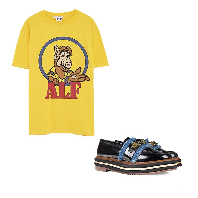 Mocasín Joya Laminado de Un Paso Más Camiseta 'Alf' de Zara