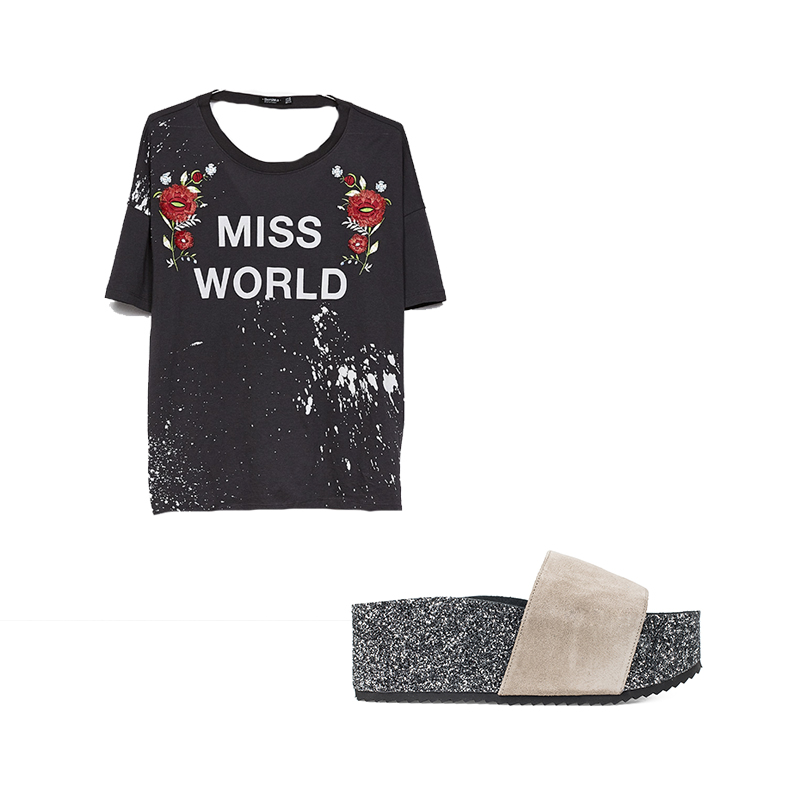 Plataforma Arizona Glitter de Un Paso Más Camiseta 'Miss World' de Bershka