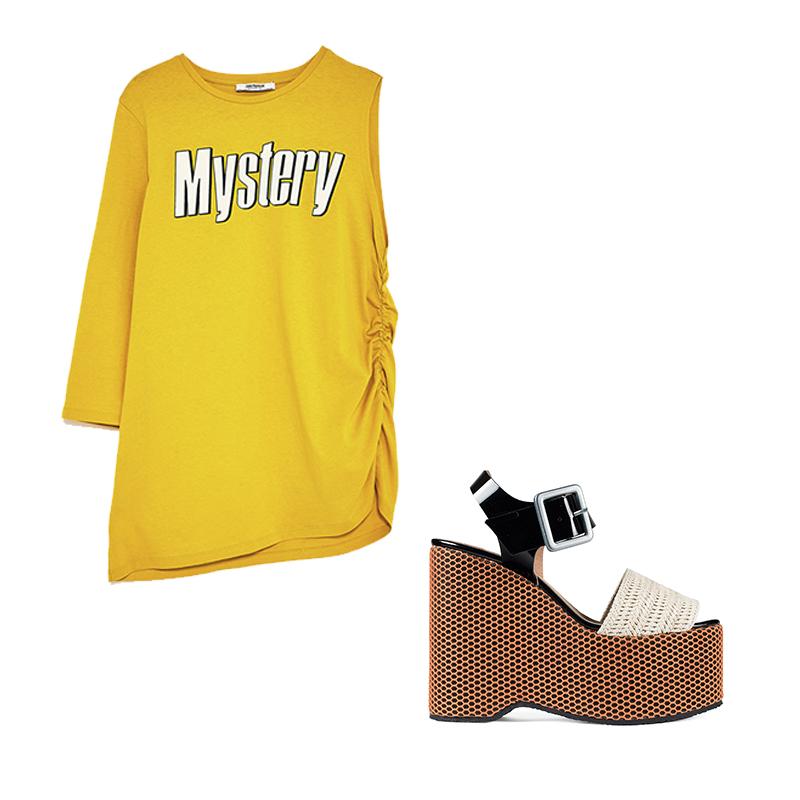 Sandalia Plataforma Rejilla de Un Paso Más Camiseta amarilla de Zara