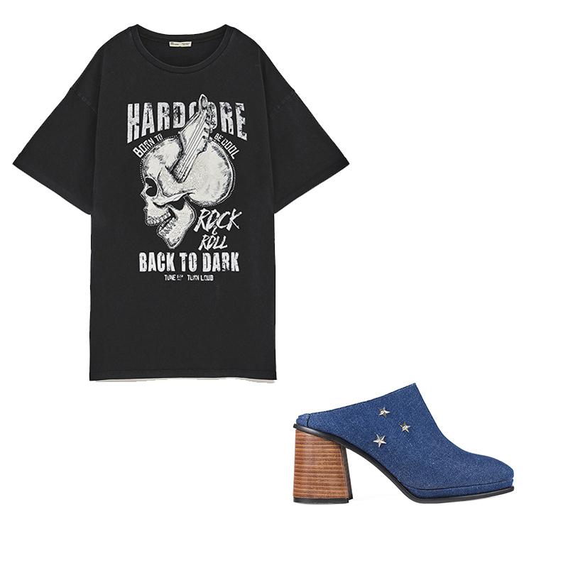 Zueco Tacón Elefante Denim de Un Paso Más Camiseta estampada 'Heavy' de Zara