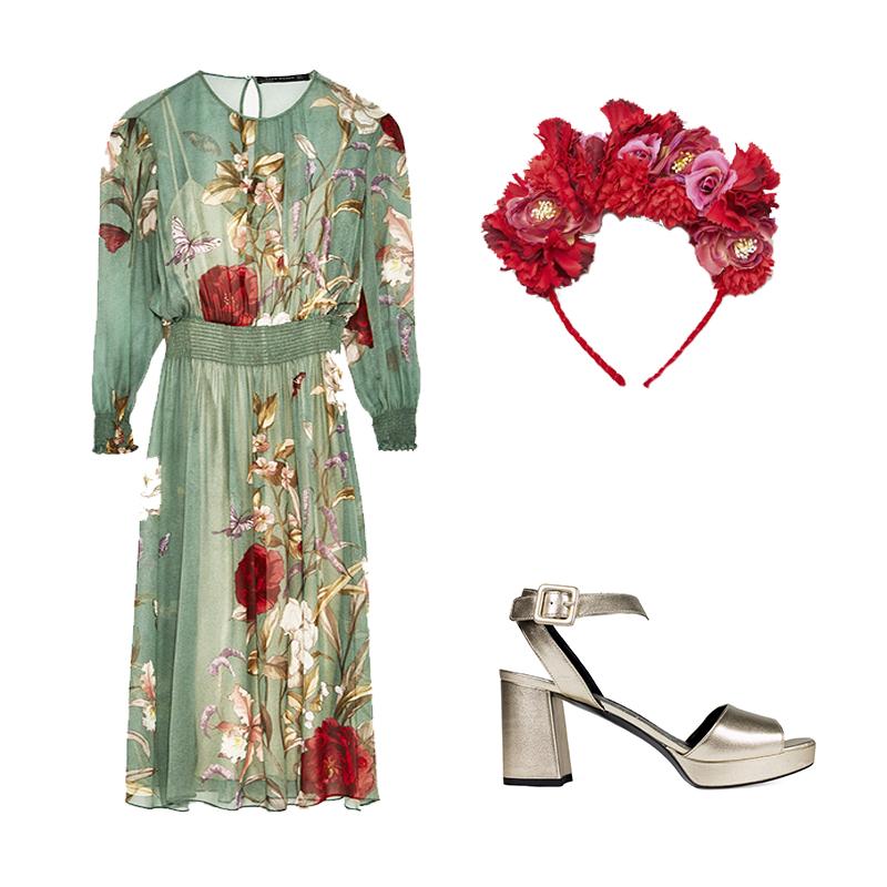 Sandalia Pulsera Midi de Un Paso Más Vestido de Zara Diadema flores de Mango