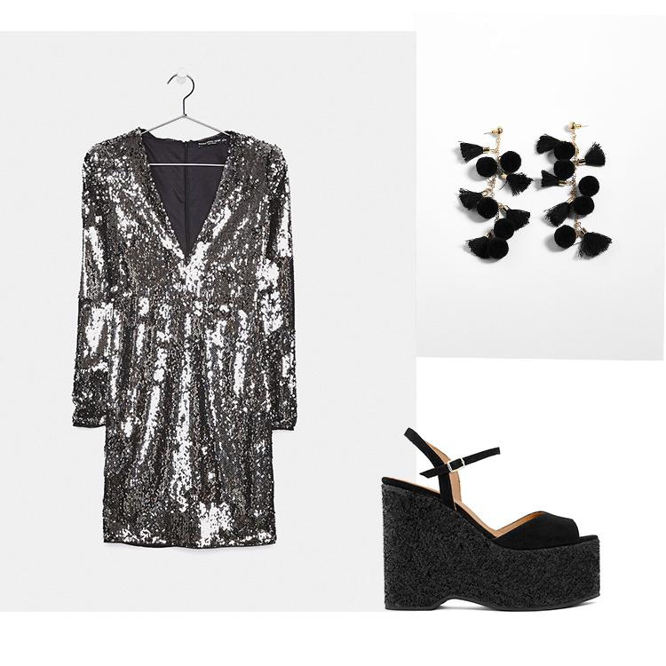 Sandalia Plataforma Glitter: Un Paso Más Vestido y pendientes: BERSHKA