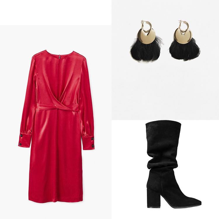 Bota Alta Fruncido: Un Paso Más Vestido y pendientes: MANGO