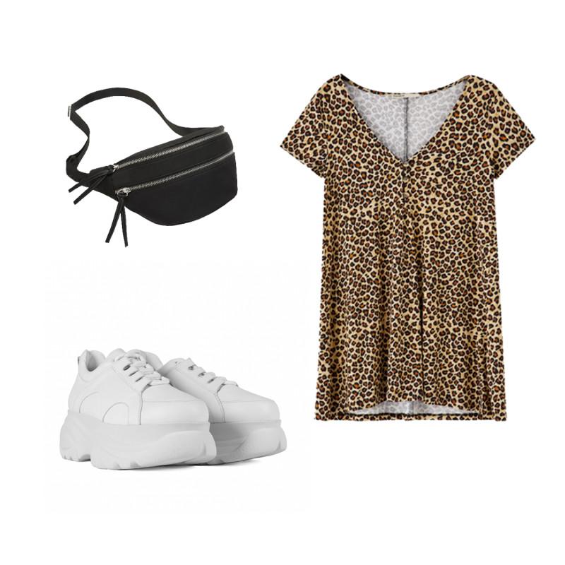 Vestido y riñonera de Pull & Bear y Sneakers de plataforma de Un Paso Más