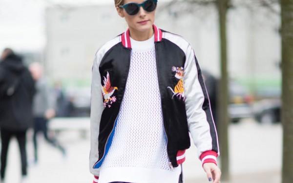 Olivia-Palermo-satin-bomber-jacket