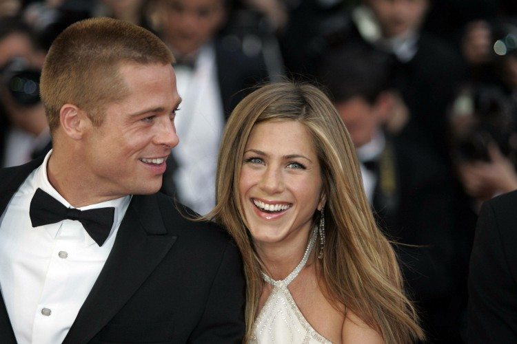 Cast Member Brad Pitt and his wife Actress Jennifer Aniston at the Premiere of Troy, at the 2004 Cannes Film Festival, at the Palais Du Festival, on Thursday, May 13th, 2004 in Cannes, France. (SPLASHNEWS PHOTO/Mario Anzuoni)  Ref: MA 130504 C   Splash News and Pictures Los Angeles:   310-821-2666 New York:      212-619-2666 London: 207-107-2666 photodesk@splashnews.com